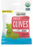 Mediterranean Organic Green Pitted Snack Olives with Herbs 2.5 oz.