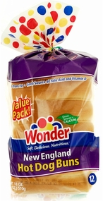 * Wonder Hot Dog Buns, Sliced 18 oz. (New England Style)
