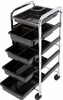 Hairart Trolley With Black Trays 1200