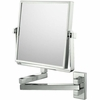 Mirror Image 3X To 1X Brushed Nickel Square Double Arm Wall Mirror 24073