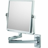 Mirror Image 3X To 1X Chrome Square Double Arm Wall Mirror 24043