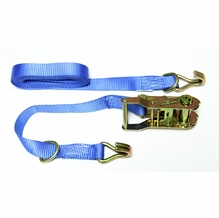 1in. x 10ft Ratchet Strap, Blue Webbing, J Hooks and D Rings