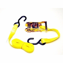 1in x 10ft Ratchet Strap, Yellow Webbing, Rubber Coated S-Hook
