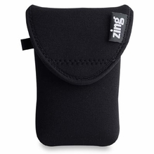 Zing Neoprene Medium Belt Bag w/ Flap Closures, Black