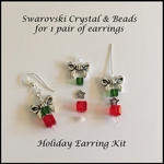 Holiday Present & Bow Earrings Kit - Crystal & beads