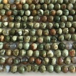 "Rhyolite 4mm, Rain Forest Jasper Green Round  16"" Gemstone"