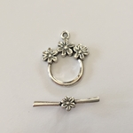Sterling Silver Toggle with 3 Flowers #9 Toggle