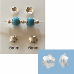 Sterling Silver  Silver 6mm - 6 Petal Flower Bead Cap #26 - 20 pc *new*