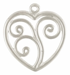 Sterling Silver Heart Drop Charm with Swirl Design 17mm *out of stock*