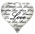 Sterling Silver Heart Charm Pendant Charm - Xora - Inscribed Love L'amour 17mm  discontinued