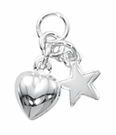 Sterling Silver Puff Heart and Star Charm *new*