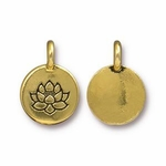 TierraCast Round Lotus Charm, Antique Gold Plated Pewter  *new*