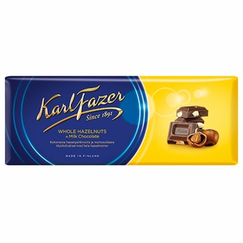 Fazer Milk Chocolate with Hazelnuts - 200g - Click to enlarge