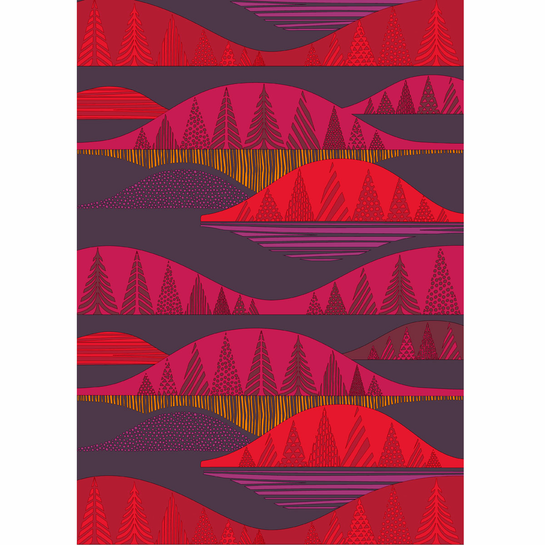 Marimekko Kultakero Red/Plum Cotton Fabric