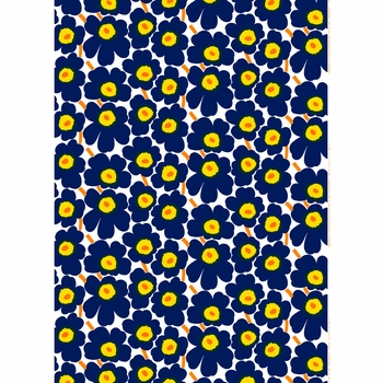 Marimekko Pieni Unikko Indigo Cotton Fabric - Click to enlarge