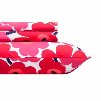 Marimekko Red Pieni Unikko Sheet Set - Twin XL - Click to enlarge