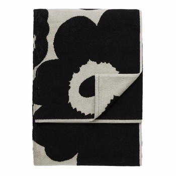 Marimekko Unikko Sand / Black Beach Towel - Click to enlarge