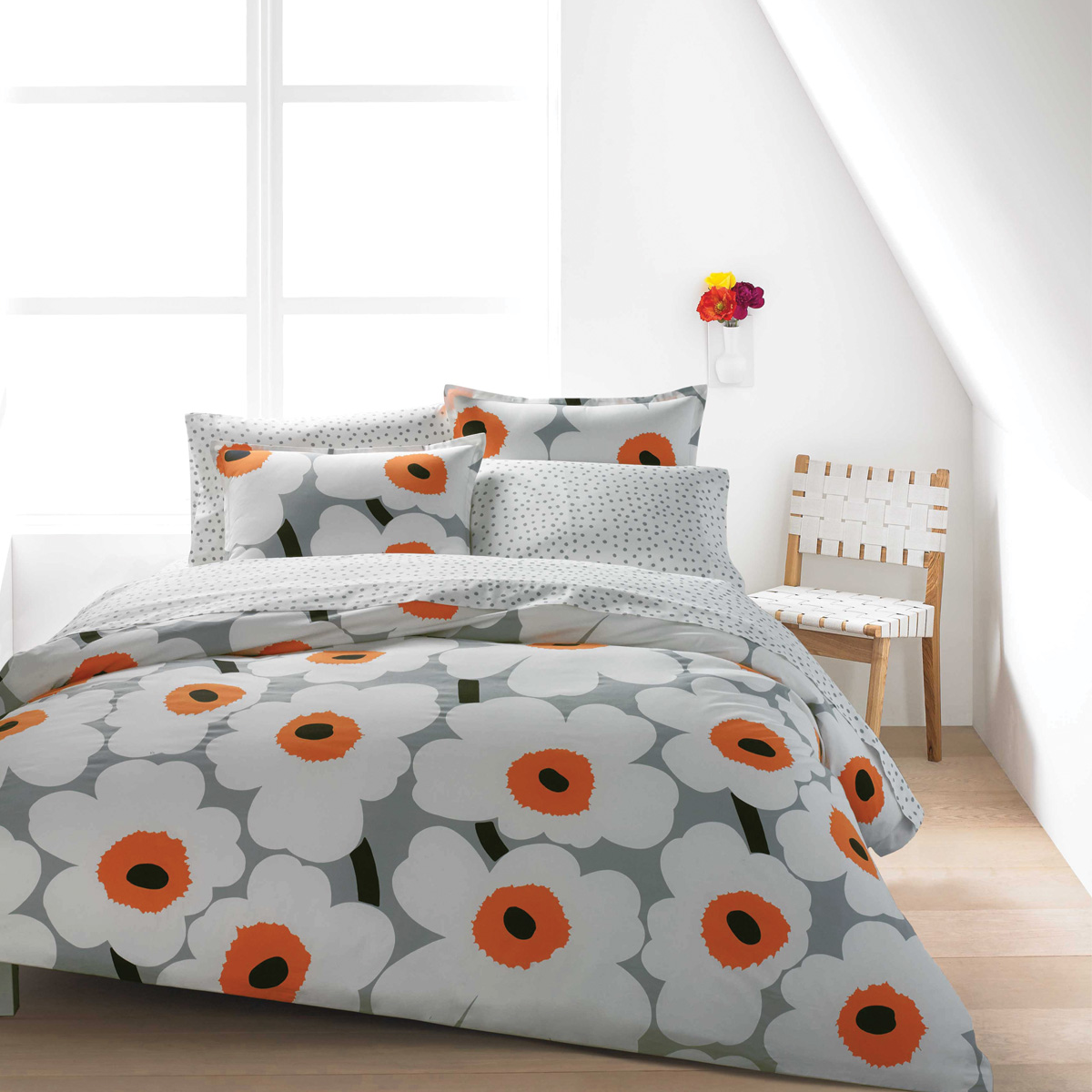 Marimekko Unikko Grey White Orange Percale Bedding