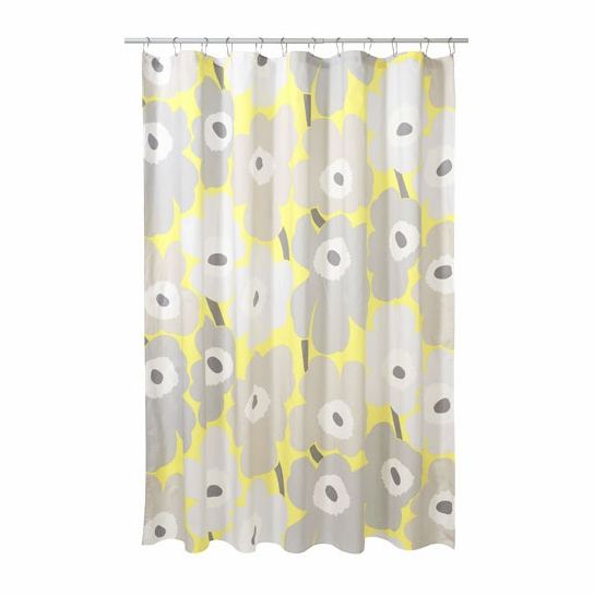 Shower Curtains cotton shower curtains : Marimekko Unikko Grey / Yellow Cotton Shower Curtain - Marimekko ...