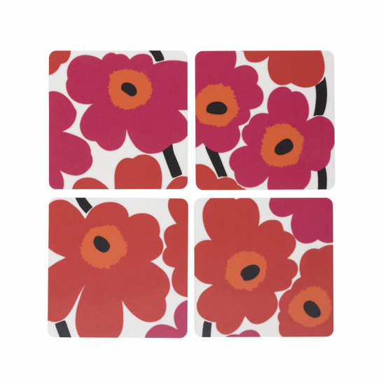 Marimekko Unikko Red Plywood Coaster Set of 4