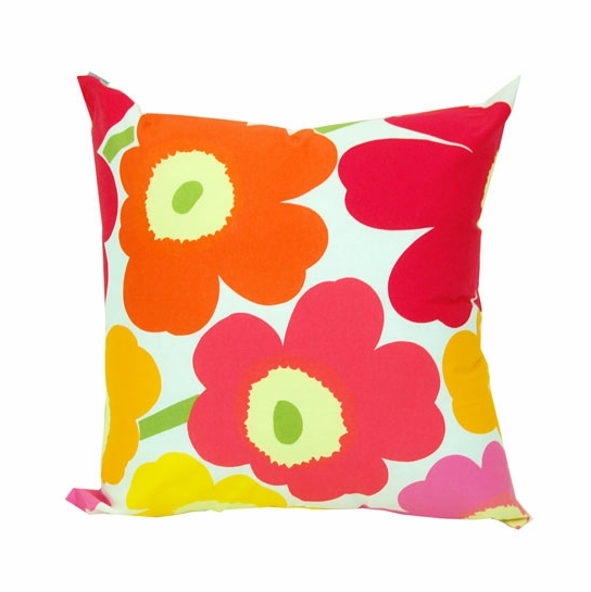 Marimekko Yellow/Orange/Pink Pieni Unikko Throw Pillow
