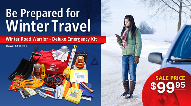Save on the deluxe winter road warrior emergency kit.
