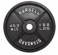 100lb Black Olympic Weight Plate - Pair