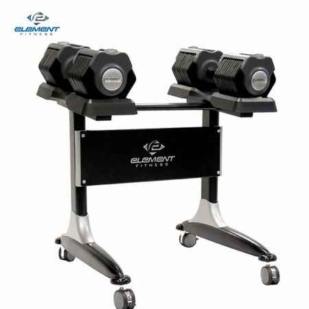 Element 5-55lb Adjustable Dumbbell Set W/Stand