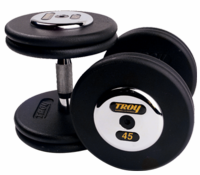 Troy Black  Pro Style Dumbbells W/Chrome Caps 105-150lb Set