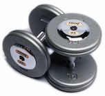 Troy Pro Style Dumbbell Sets Gray W/ Chrome End Caps