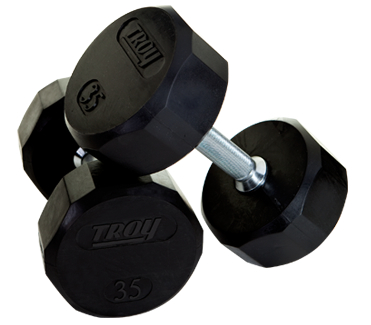 Troy Rubber Encased 12 Sided Dumbbells 55-100lb Set