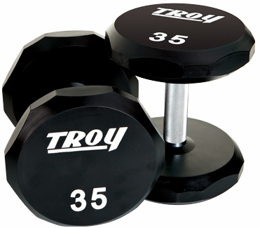 Troy Urethane 12 Sided Dumbbells 5-100lb Set