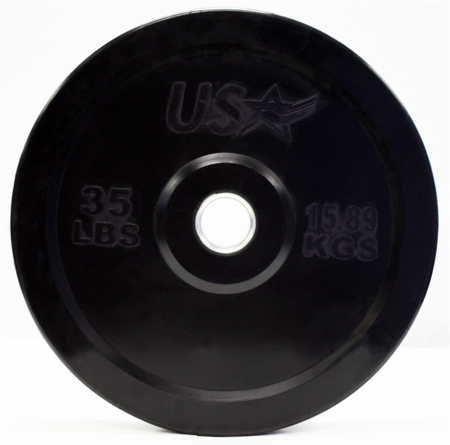 35lb Black Rubber Bumper Plates - Pair