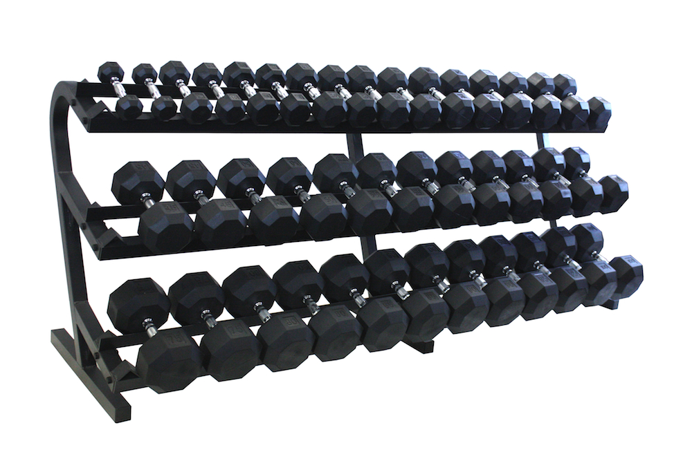 Vtx 5 100lb Rubber Coated Dumbbells With Rack