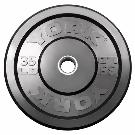 York 35lb Solid Rubber Bumper Plates - Pair