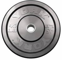 York 45lb Solid Rubber Bumper Plates - Pair
