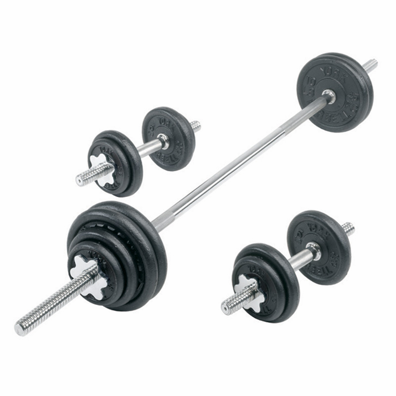 York 30kg Dumbbell Set: York Cast Iron Dumbbell/Barbell Set