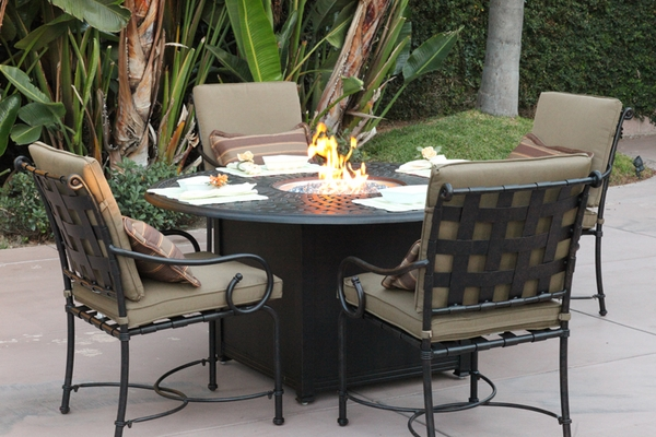 201060 GD Darlee 60 Round Universal Propane Fire Pit Dining Patio Table
