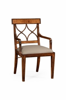 494499 Jonathan Charles Windsor Regency Crotch Walnut Curved Back Chair (Arm)
