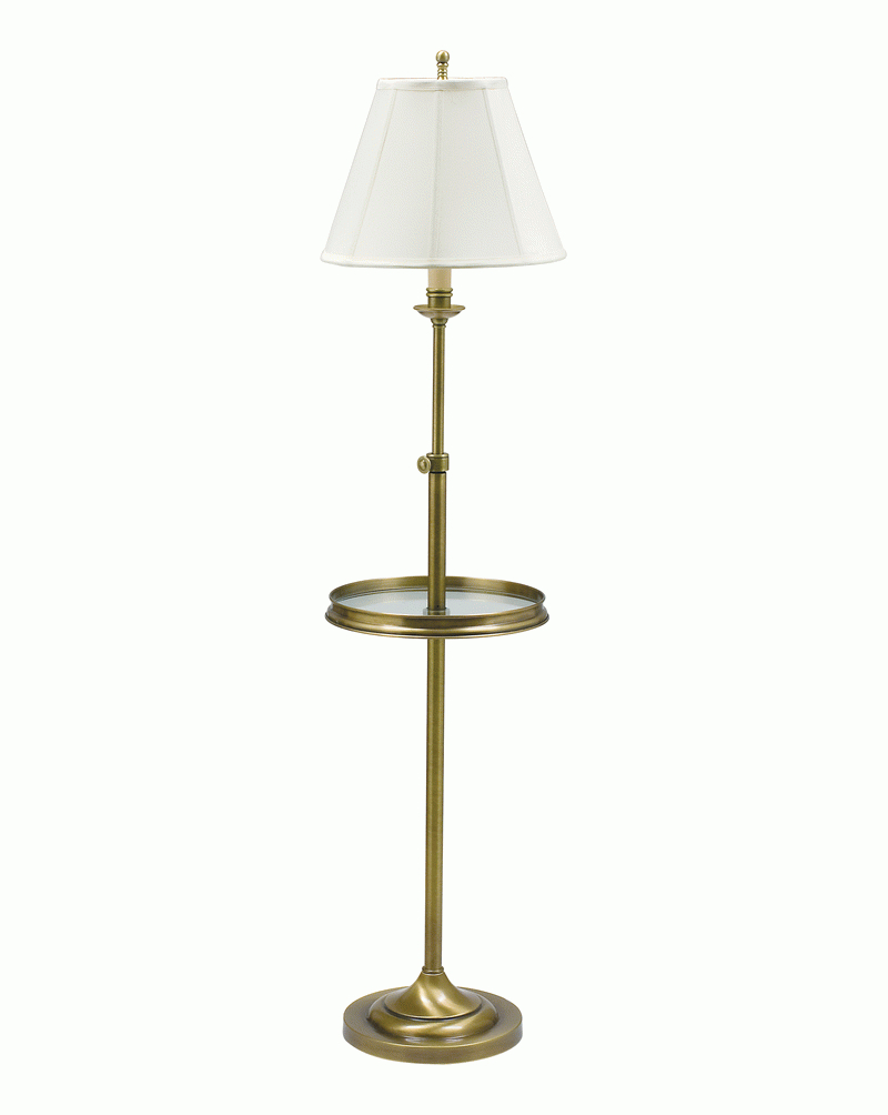 cl202 ab house of troy antique brass floor lamp with glass table. Black Bedroom Furniture Sets. Home Design Ideas