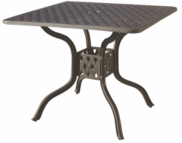 Dl30 I Darlee 36 Quot Square Dining Patio Table In Cast Aluminum With An Antique Bronze Finish
