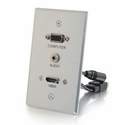 Cables To Go HDMI, VGA + 3.5mm Pass Through Single Gang Wall Plate - Aluminum - 60144