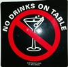 No Drink on Table Label