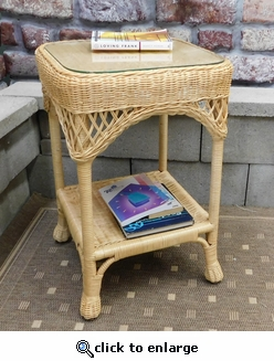 Victorian Side Table with Glass (UPS $45)