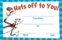 Dr. Seuss Cat In The Hat Hats Off To You Recognition Awards 36 Pack