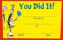 Dr. Seuss Cat In The Hat You Did It Recognition Awards 36 Pack
