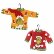 Dr. Seuss Grinch Face Sweater Ornament Set of 2