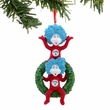 Dr. Seuss Thing 1 and Thing 2 on Wreath Glittered Ornament