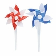 Patriotic Pinwheel Cupcake Picks 24 Pack