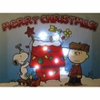 Peanuts Merry Christmas Doghouse 6x8 Lighted Canvas Wall Art